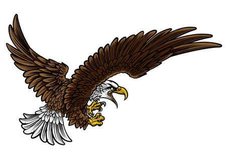 A bald or American eagle swooping in profile with claws or talons outstretched