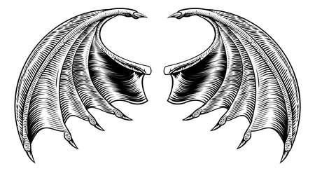 Une conception de Halloween dragon démon ou vampire ailes de chauve-souris horreur dans un style de gravure sur bois millésime