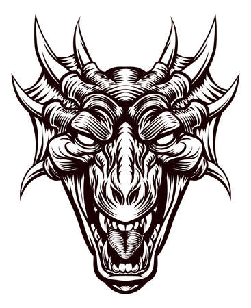 Original illustration of a monster dragon head in a vintage retro woodcut etched engraving style Vectores