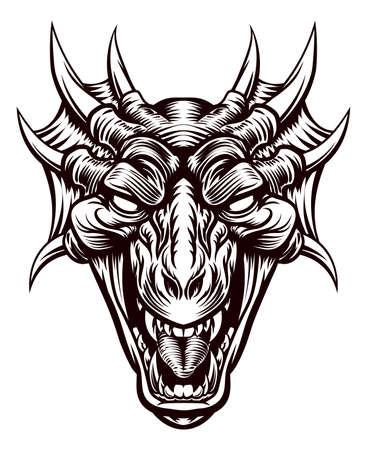 Illustrazione originale di una testa di drago mostro in un retro xilografia incisa stile incisione vintage