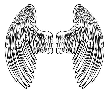 Spread Eagle vogel of angel gevederde vleugels