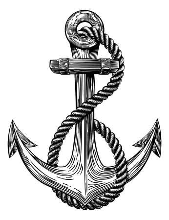 船のアンカーとロープ ヴィンテージ木版画木版画のスタイルでオリジナル イラスト
