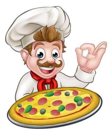 Cartoon chef-kok die een pizza en het geven van een perfecte oke heerlijk kok gebaar