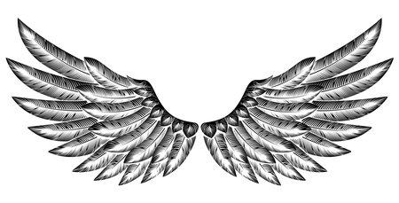 Paar Ausbreitung geätzt Holzschnitt Vintage-Stil Flügel
