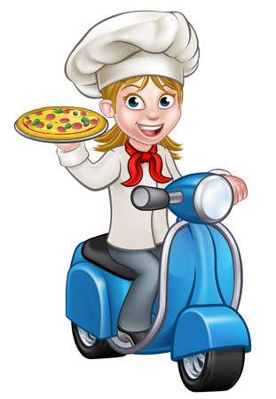 Cartoon vrouw chef-kok of kok karakter rijden op een bromfiets levering motor scooter en met een pizza