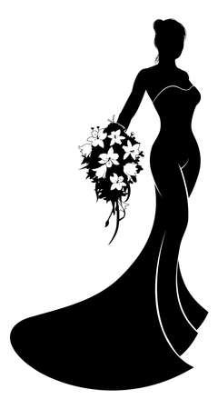 Bride silhouette woman in a bridal dress wedding gown holding a bouquet of wedding flowers