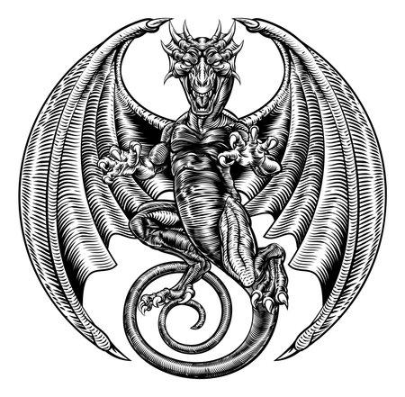 刻まれたエッチング木版画様式の翼神竜  イラスト・ベクター素材