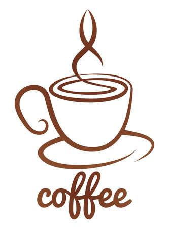 An abstract coffee cup cafe icon concept Imagens - 68842074