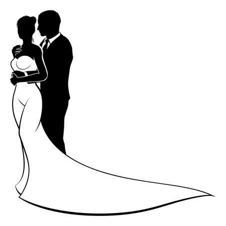 Hochzeit Design Der Braut Und Bräutigam Paar In Silhouette, In Einem ...