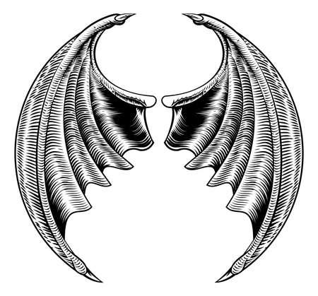 빈티지 목 판화 스타일에서 원형 박쥐 악마 드래곤 날개 공포 할로윈 디자인