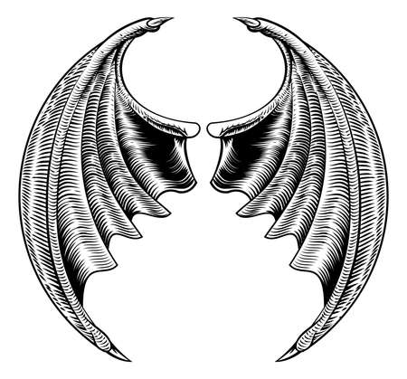 A circular bat demon dragon wings horror Halloween design in a vintage woodcut style