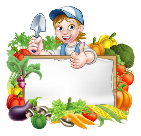 A cartoon woman gardener holding a gardening tool and giving a thumbs up with a sign surrounded by vegetables and fruit garden produce Stock Illustratie