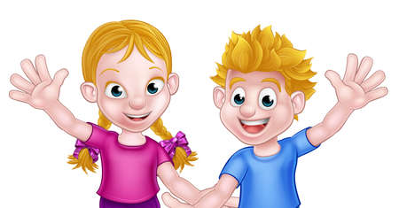Happy cartoon young boy and girl kids waving, possibly brother and sister