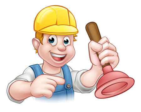 A handyman plumber cartoon character holding a plunger and pointing Illustration