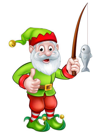 A cartoon cute garden gnome or elf character holding a fishing rod Illustration