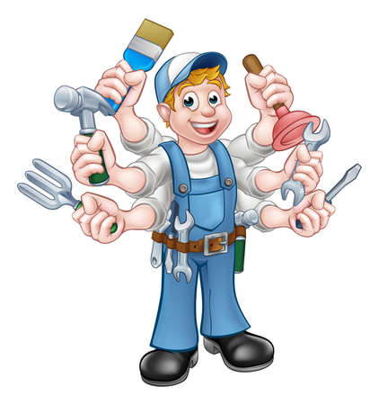 A cartoon handyman holding lots of tools
