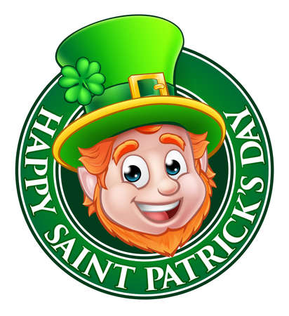 Cartoon Leprechaun character in a circle reading happy Saint Patricks Day