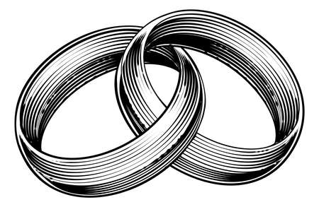 Wedding rings or bands in a vintage retro engraved etching woodcut style