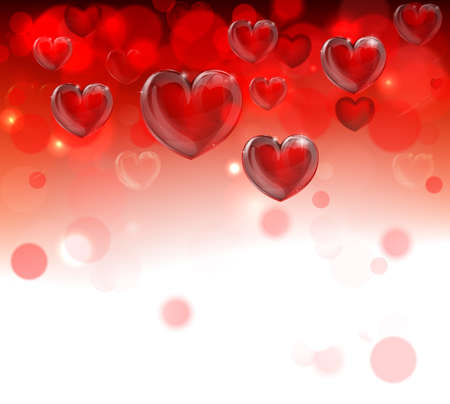 A red valentines day hearts header frame border background fading to white with bokeh effects