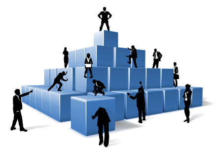 A business team of people silhouettes working together using big building blocks to make a structure. Concept for teamwork