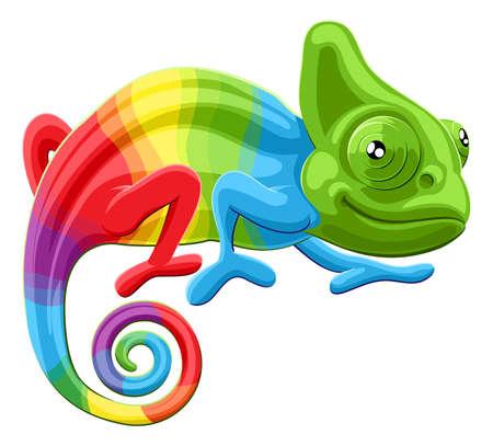 Cartoon rainbow colored multicoloured chameleon lizard character Illustration