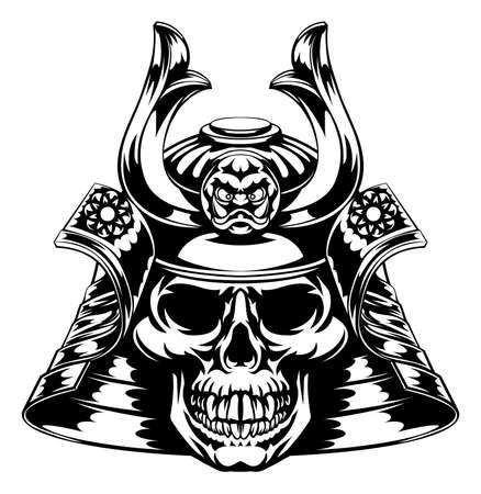 Een skelet schedel gezicht samurai met masker en helm