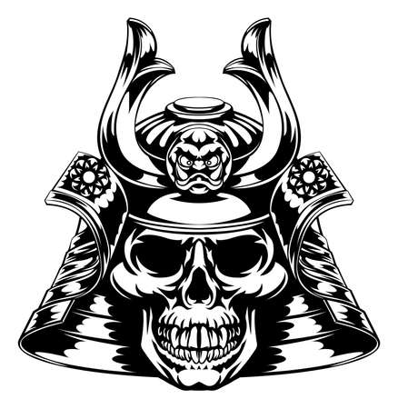 A skeletal skull face samurai with mask and helmet Vettoriali