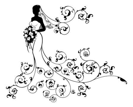 A bride wedding silhouette design, in a white bridal dress gown and veil holding a floral bouquet of flowers with an abstract floral pattern design
