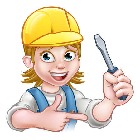 An electrician handyman cartoon character holding a screwdriver and pointing Illustration