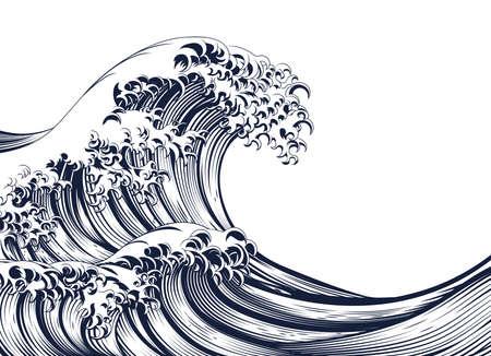 Una grande ondata orientale giapponese in un retro epoca inciso incisione stile xilografia
