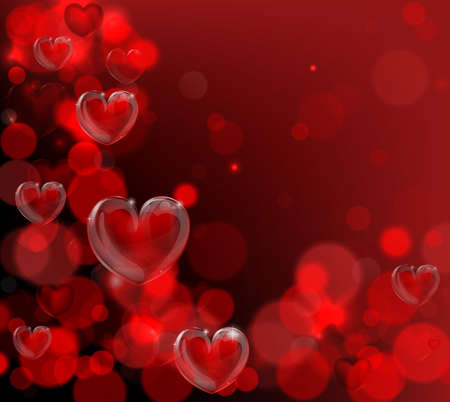 A red valentines day hearts corner background with bokeh effects