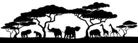 アフリカのサファリ動物のシルエットの風景シーン  イラスト・ベクター素材