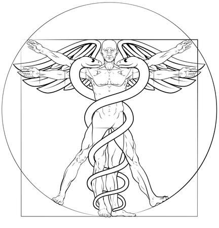 Caduceus medical symbol man concept Illustration