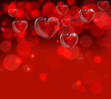 Een rode Valentijnsdag harten header backgroundwith bokeh effecten
