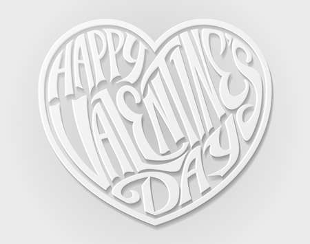 A paper craft style white Happy Valentines Day Heart letters text design Illusztráció