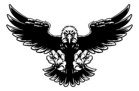 Black and white American bald eagle mascot swooping with claws out and wings spread