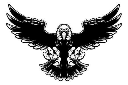 Zwart en wit American bald eagle mascotte stoten met klauwen uit en vleugels spreiden