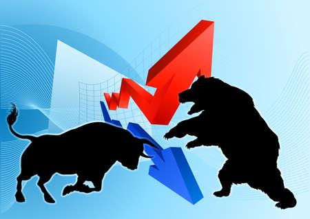 Ein Silhouettenbär, der gegen ein Stiermaskottchen vor einem Finanzkonzept für eine Börse oder ein Gewinndiagramm kämpft Vektorgrafik