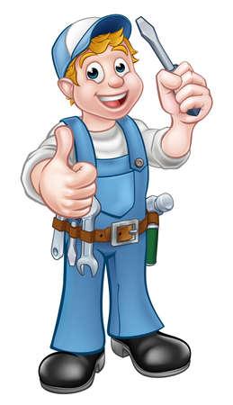 Un personaje de dibujos animados electricista manitas celebración de un destornillador y dando un pulgar hacia arriba