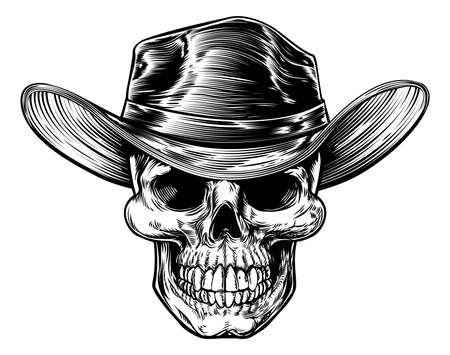 Skull cowboy drawing in a vintage retro woodcut etched or engraved style