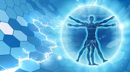 Vitruvian man hexagon blue background concept like Leonard Da Vinci s anatomy illustration