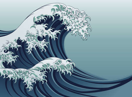 An oriental Japanese style great wave in a vintage style