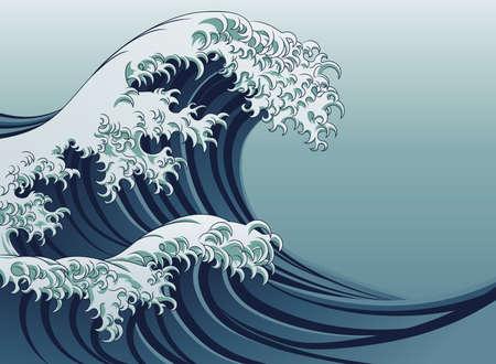 Un style japonais oriental grande vague dans un style vintage Vecteurs