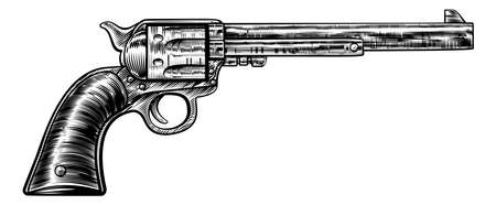 빈티지 레트로 목 판화에서 총 리볼버 권총 여섯 사수 권총의 그림은 에칭이나 스타일을 새겨 일러스트