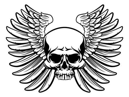 A skull and wings drawn in a vintage retro woodcut etched or engraved style Illustration