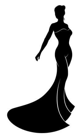 Het silhouet van de bruid in haar mooie bruids trouwjurk