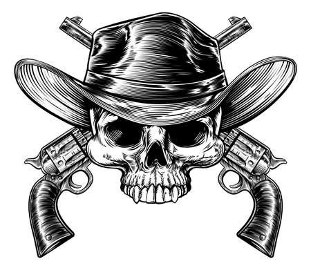 Cowboy skull in a western hat and a pair of crossed gun revolver handgun six shooter pistols drawn in a vintage retro woodcut etched or engraved style Illustration