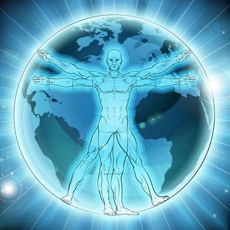 Vitruvian man world earth globe background concept like Leonard Da Vinci s anatomy illustration