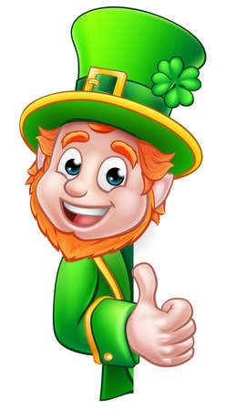 Cartoon Leprechaun St Patricks Day character peeking around a sign and giving a thumbs up Illustration