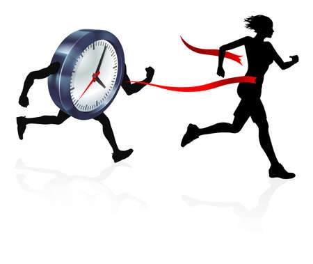 A woman racing against a clock character winning and breaking through the finish line